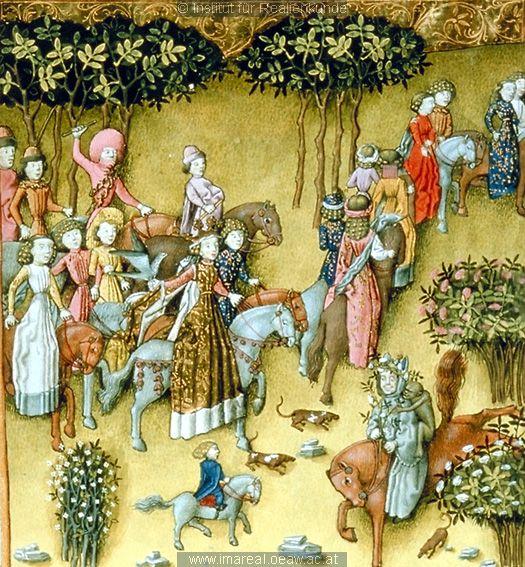 Trojanischer Krieg  Helena auf dem Weg zum Venustempel   Dieses Bild: 006401    1445 ; 1450 ; Wien ; Österreich ; Wien ; Österreichische Nationalbibliothek ; cod. 2773 ; fol. 62r