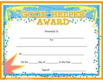 good helper awards certificate