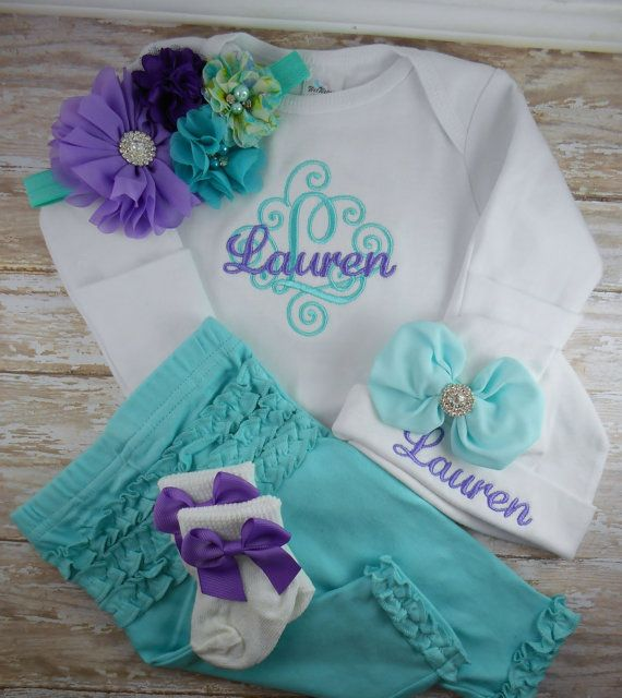 baby girl coming home outfit, baby girl, clothes, outfit, newborn, hospital, outfit, aqua, pants, baby girl bodysuit, hat, headband, set