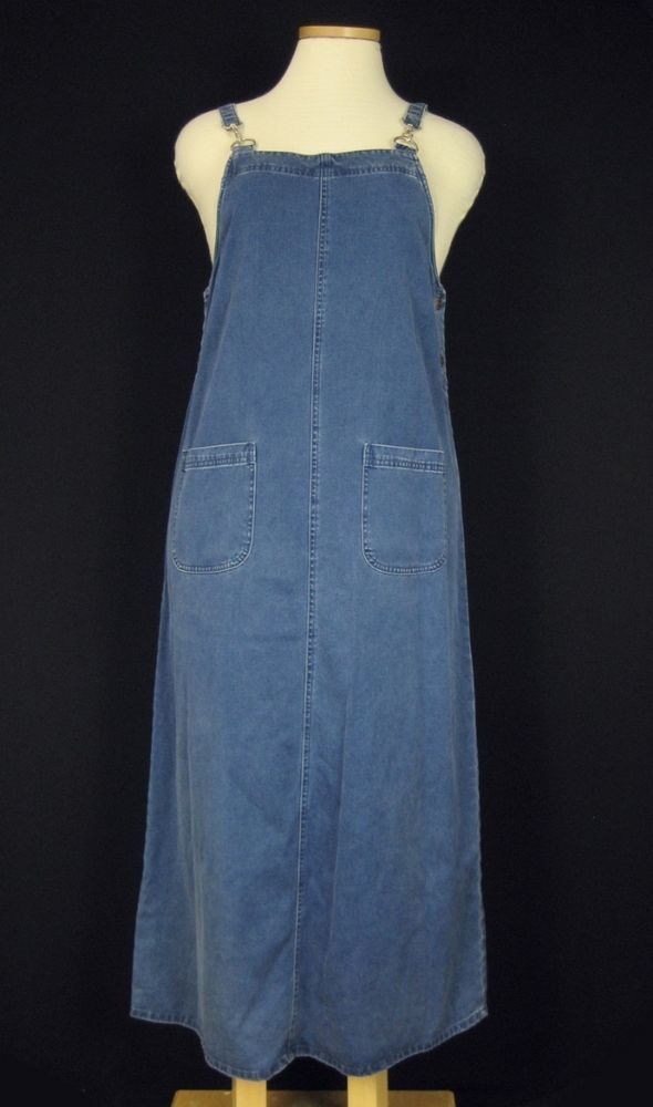 Directives Blue Denim Cotton Blend Artist Long Jumper Dress w/ Pockets Sz L #Directives #Jumper #Casual
