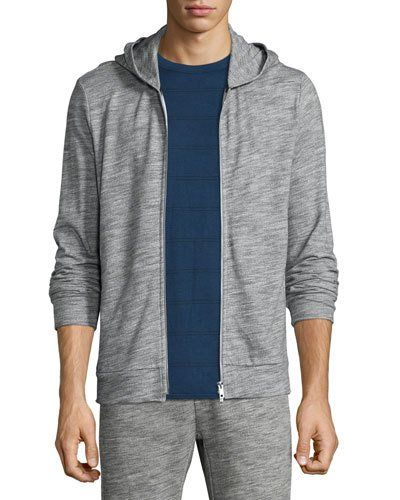 Theory+Danen+Front+Zip+Terry+Hoodie+Dark+Heather+|+Top,+Sweatshirt+and+Clothing
