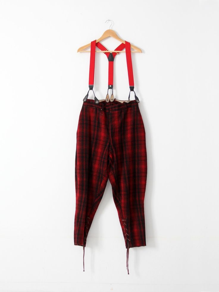 Amazing Vintage C 1930s Red Plaid Wool Hunting Pants  Historical Workwear