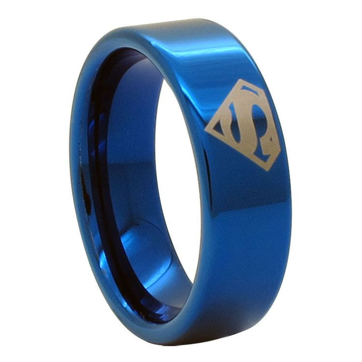 Blue Superman Tungsten Carbide Ring
