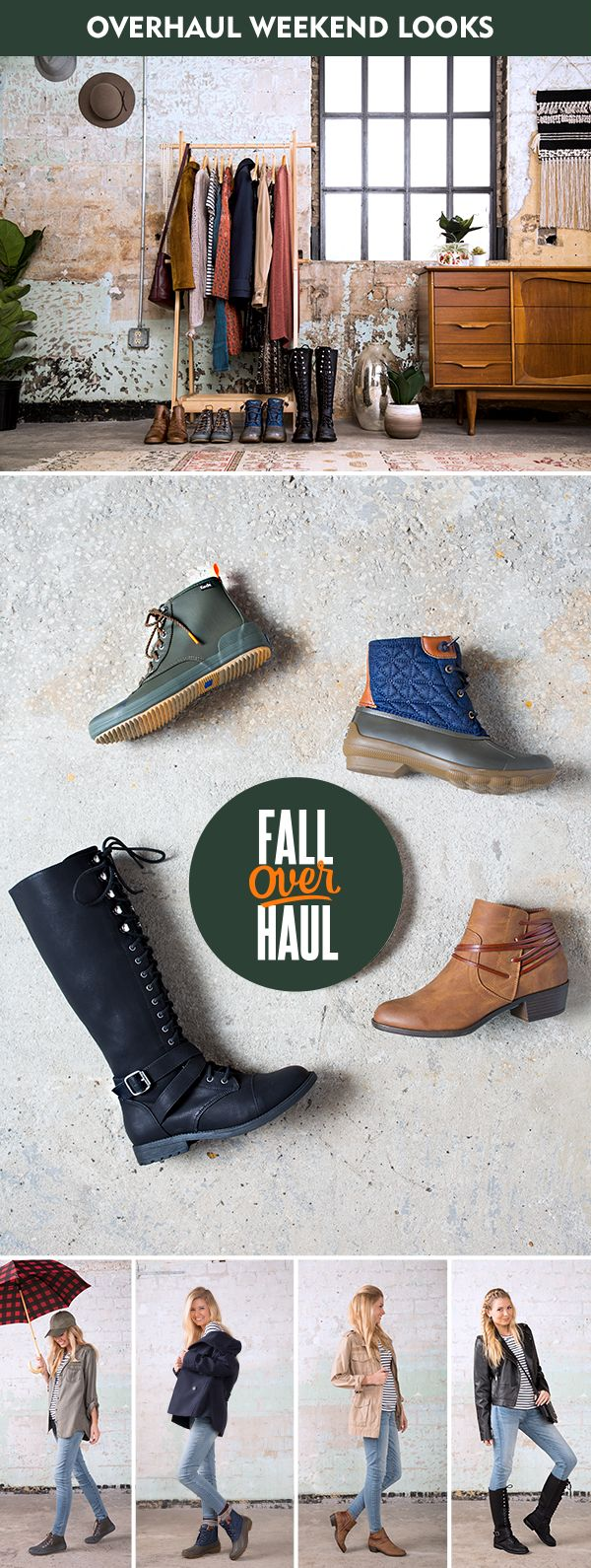 Overhaul your fall weekend look with boots that are ready for all your plans! Stay stylish and dry with an umbrella and waterproof �Scout� boots from Keds, or warm and cozy with a coat and waterproof �Syren Gulf� boots from Sperry. Grab coffee in a light jacket and Madden Girl �Become� brown booties or just feel fierce in a moto jacket and David Aaron�s �Dessy� black lace-up boots.