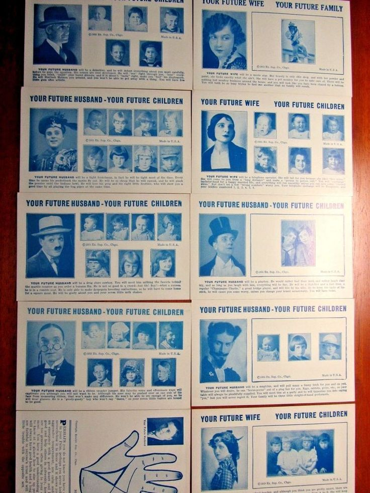 VINTAGE1935 YOUR FUTURE HUSBAND/WIFE-YOUR FUTURE CHILDREN ARCADE FORTUNE CARDS