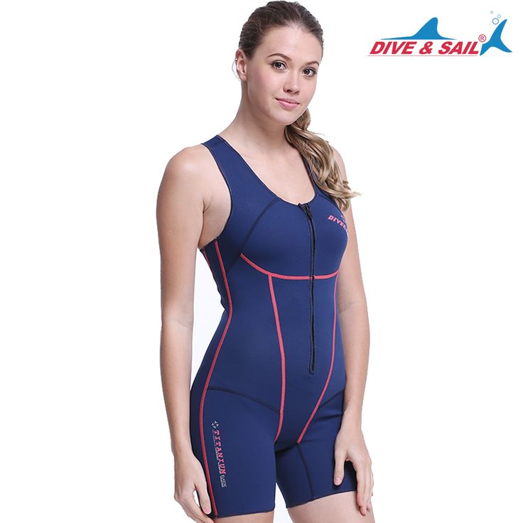 DIVE&SAIL WDS-4139 blue color women 1.5 mm neoprene front zipper wetsuits Surf Suit Sleeveless suit Smooth Skin wetsuits #Affiliate