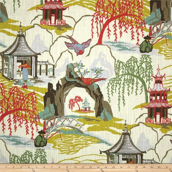 Robert Allen @ Home Neo Toile Coral Fabric, Coral Asian Pagoda Home Decor Fabric, Chinoiserie Drapery Fabric, Neo Coral Fabric - By the yard