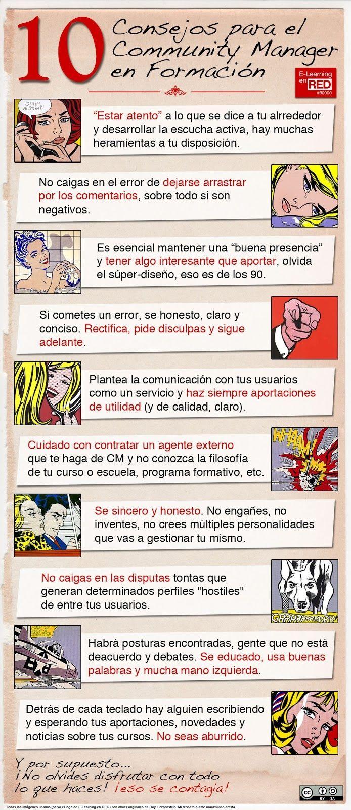 10 consejos para el Community Manager en formación.  #Infografía en español