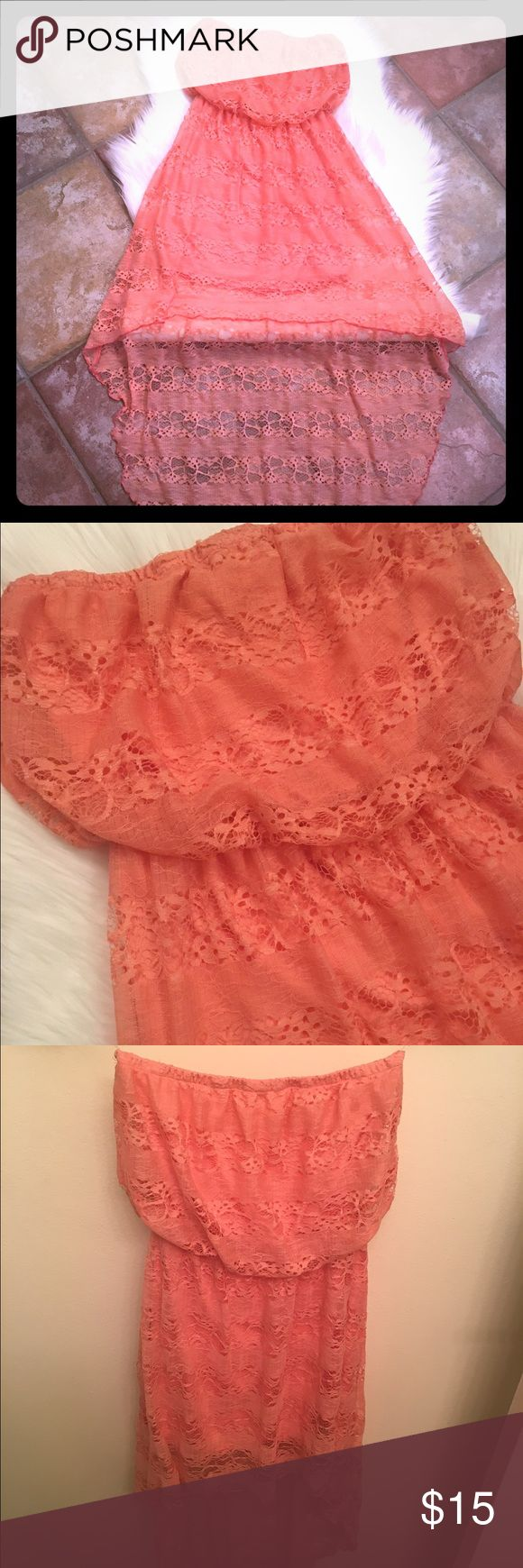 Coral lace dress Hi-Lo dress covered in lace Dresses High Low