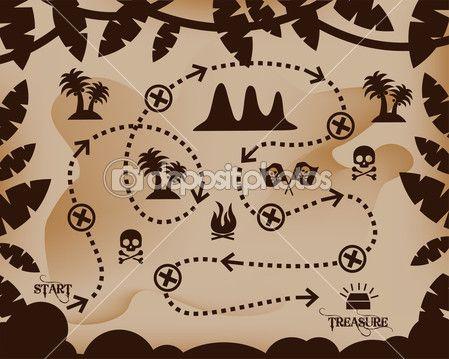 mapa del tesoro — Ilustración de stock #41642107