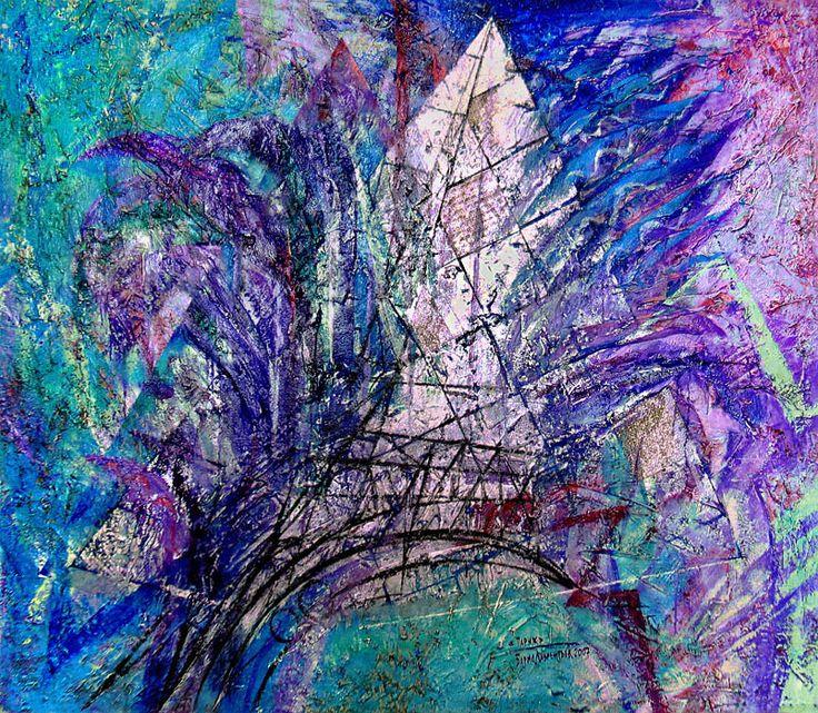"""PARIS"", relief pastes, silver foil, acrylic on canvas, 164x188. ""ПАРИЖ"". Холст, рельефные пасты, серебряная фольга, акрил, 164х188 см.  more - http://lauren.ru/ru/pics/gallery/goroda/id_91.html?task=view"