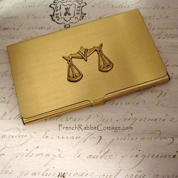 SCALES OF JUSTICE BUSINESS CARD CASE. Accessory / Gift for Lawyer / Attorney. Gift for Men or Women! Law School Graduation Gift. Free Black