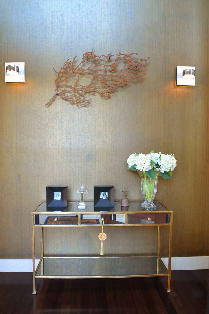 Entry with bronze wallpaper - client's home, Longueville, Sydney