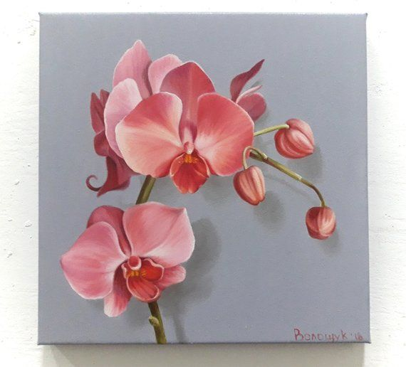 Orchid, delicate pink flower, oil painting on canvas, wall decor, gift for a girl, sprig of orchids, painting realism style, author painting