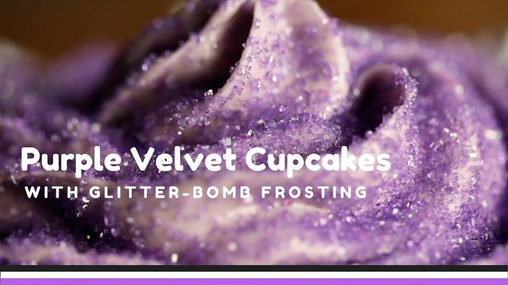 How to make purple velvet cupcakes with glitter-bombed cream cheese frosting. Yum!