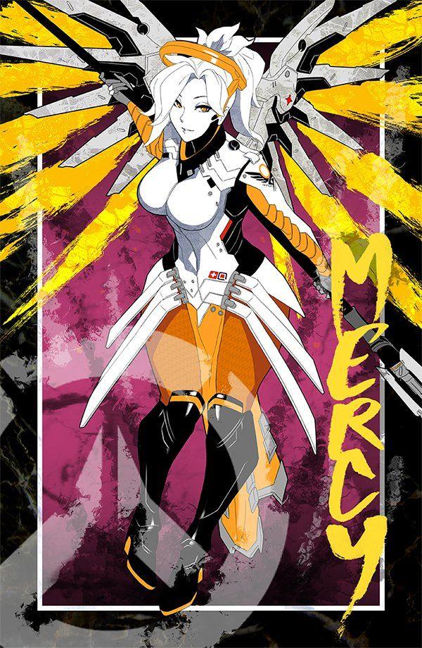 Mercy - More at https://pinterest.com/supergirlsart/ #overwatch #fanart #print