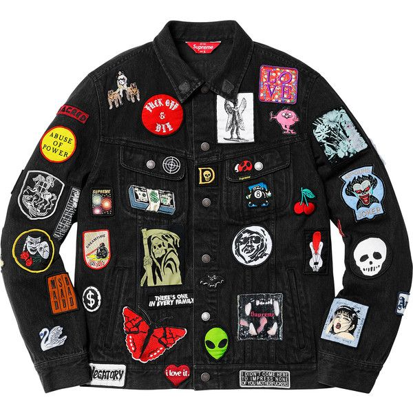 Supreme Patches Denim Trucker Jacket ❤ liked on Polyvore featuring outerwear, jackets, trucker jacket, patch jacket, denim trucker jacket, patched denim jacket and denim jacket