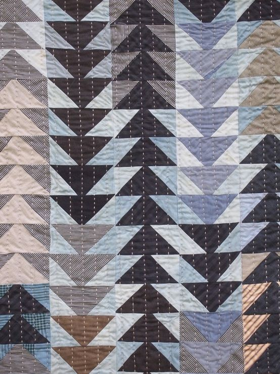 Flying Geese long stitch quilt