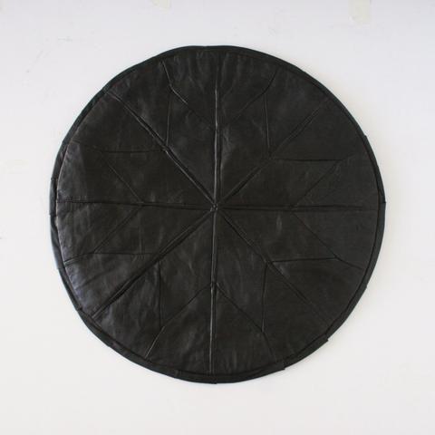 Black Baklava Turkish Leather Pouf