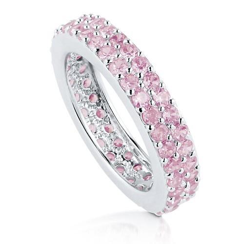 """Обручальное """"Двухрядное Кольцо Вечности"""" с 2-мя рядами розовых цирконов CZ из стерлингового серебра UAH 503.83"""