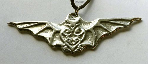 cool Bat Vision - Pewter Pendant - Animal Totem Jewelry, Insight, Vision, Steering through Changes, Nature Necklace