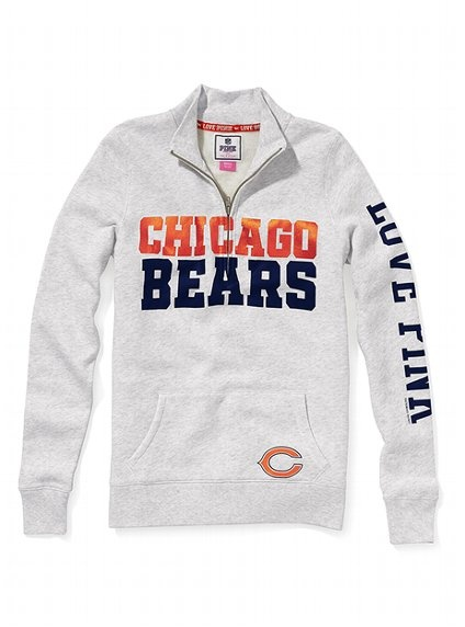 Chicago Bears Half-Zip Pullover - Victoria's Secret PINK® - Victoria's Secret. Need this for our bears game!