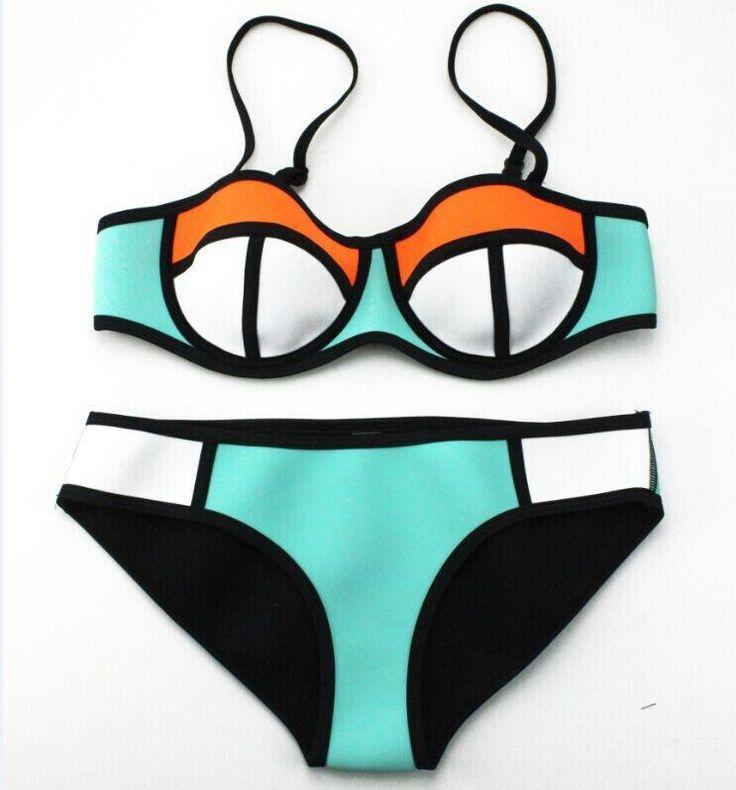 Multi coloured Neoprene Bikini - Available at www.thebikiniclub.co.za (R300)