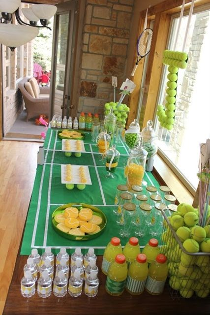 Tennis Party...love the tennis court table runner and hanging monogram made from tennis balls!