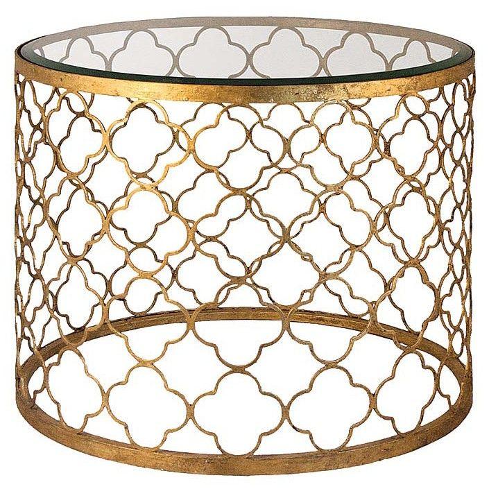 Gold Leaf Beveled Glass Top Table — Bellissimo!