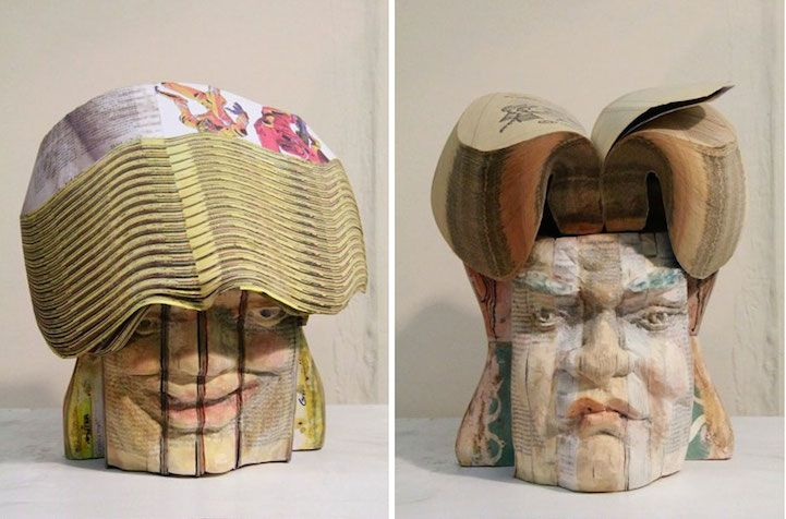 Lifelike Sculptures Intricately Carved from Recycled Books - My Modern Met
