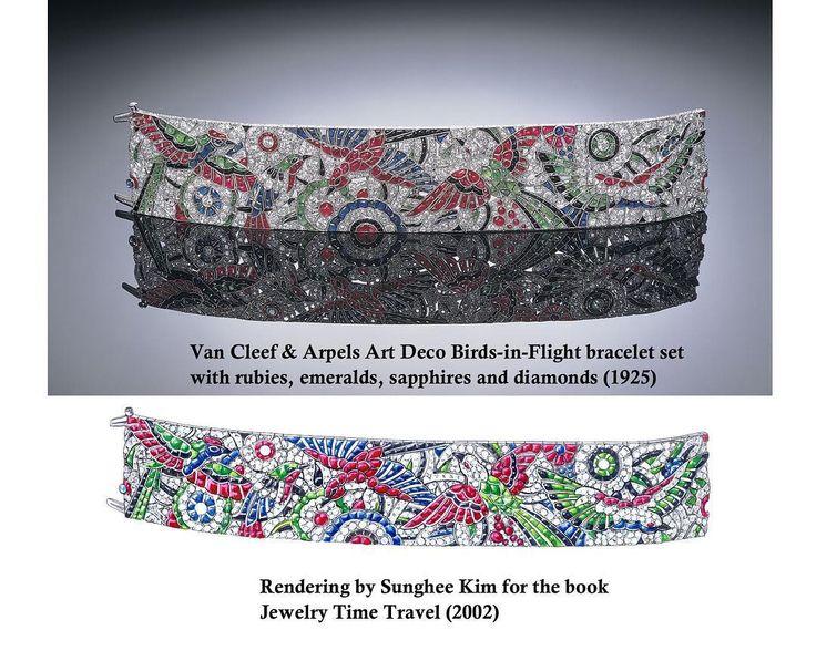 "Sunghee Kim on Instagram: ""Van Cleef & Arpels Art Deco Bracelet. Rendering by Sunghee Kim for the book "" Jewelry Time Travel"" 2002. #jewelrydesigner #sungheekim…"""