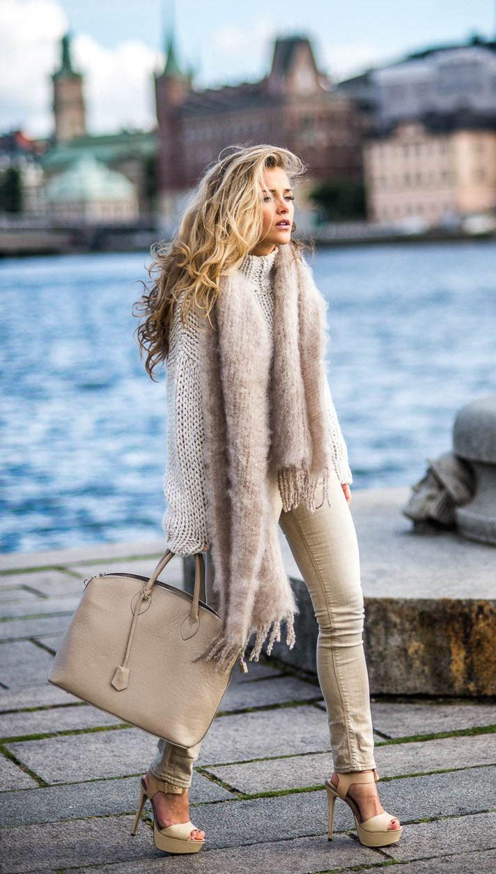 """justthedesign: """" Try layering your knitwear this fall, chunky scarves are also a must. Via Mollyrustas. Sweater: Zara, Scarf: NK, Shoes: River Island. """""""