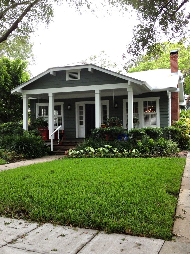 Bungalow landscaping dark grey houses pinterest for Small home builders tampa