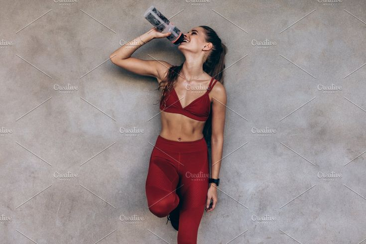 Ad: Female athlete drinking water by Jacob Lund on Creative Market. Female athle…