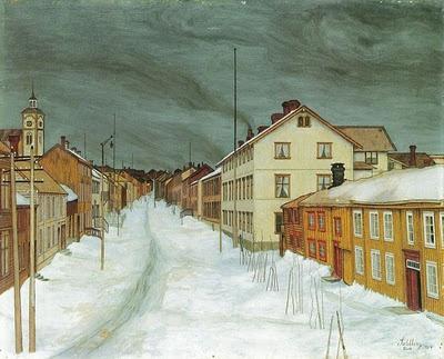 Snow at Røros in Norway. Harald Sohlberg (1869-1935): Storgaten (The Main Street), 1904