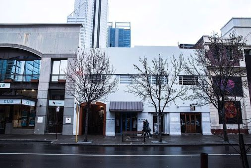 Perth City - the murray mews building - murray street with the bhp billiton and rio tinto towers in the background .Murray Mews is home to Holmes & Co Bar Coffee & Kitchen and Miin Boutique and Eldorado Perth and the Secret Garden Cafe photographer - Jed Lyall Steele