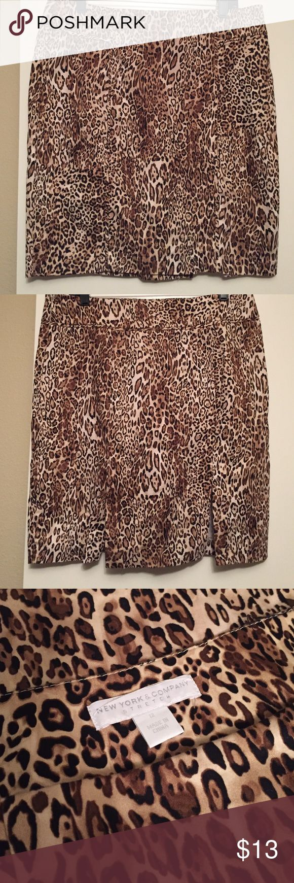 "New York & Co Cheetah Skirt Excellent condition! Unlined, double slit in back, side zipper. 21"" long. New York & Company Skirts Pencil"