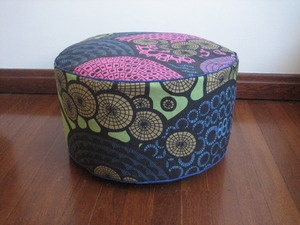 Pouff. Pink Blue mosaic with Green