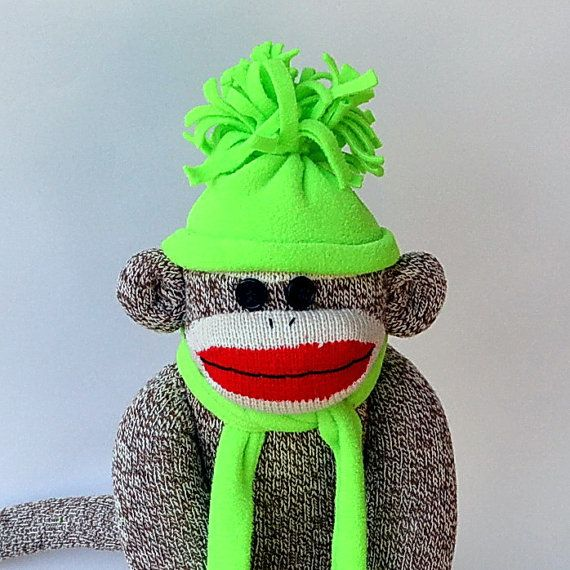 Traditional Sock Monkey Doll in Hat and Scarf by MarysMonkeys,