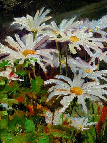 Shasta Daisies flower oil painting -- Robin Weiss