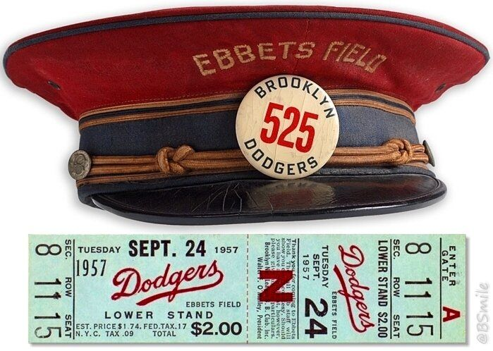 September 24, 1957: Ticket to the last Brooklyn Dodger game at Ebbets Field.