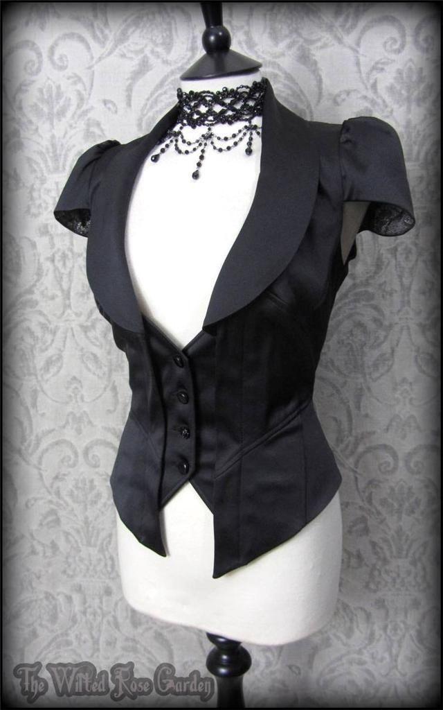 Elegant Gothic Black Satin Rose Waistcoat 14 Steampunk Victorian Vampiress | THE WILTED ROSE GARDEN