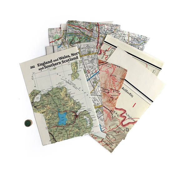 Red Map 9: vintage map ephemera paper pack with 9 red highlight pieces. Collage/art pack.