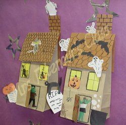 Haunted houses made with lunch bags - This would be so much fun for the kids to do.