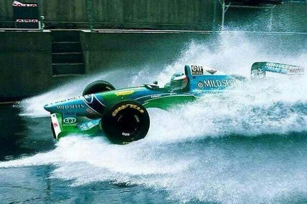 1994. Michael Schumacher. Brazilian GP. Interlagos Circuit. Free Practice.
