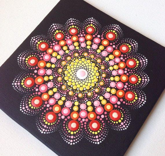 15x15cm de Mandala pintura original sobre por CreateAndCherish