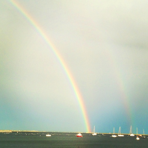 A full rainbow in Provincetown.
