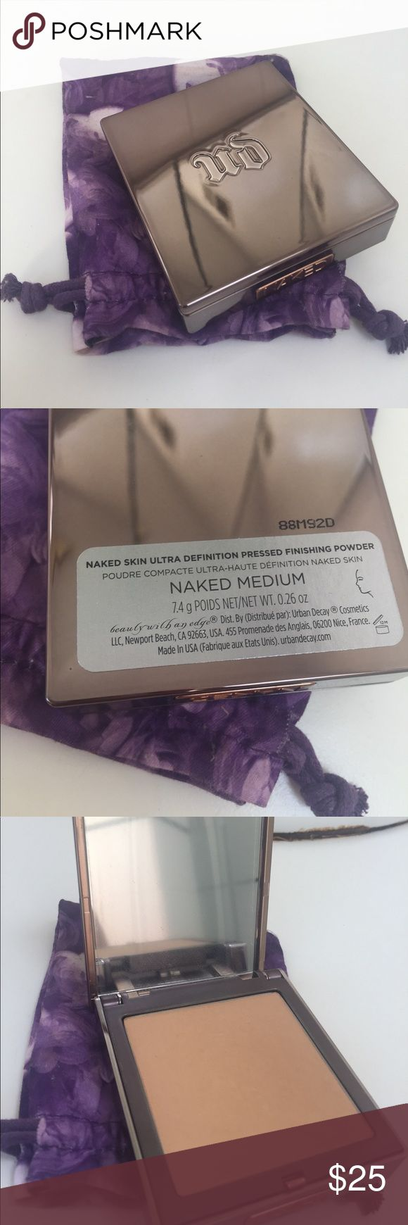 Naked skin pressed finishing powder Urban decay naked skin ultra definition pressed finishing powder in the color naked medium. Only used less than a handful of times. Sponge never used. Urban Decay Makeup Face Powder