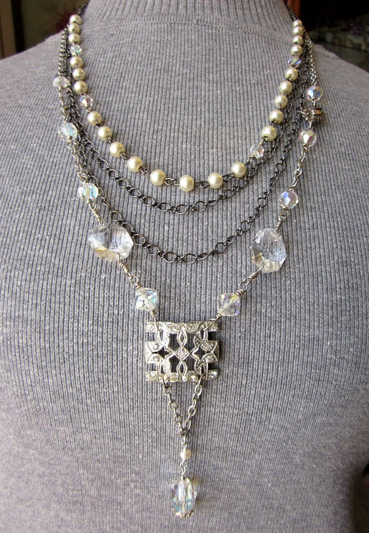 Vintage Rhinestone Art Deco Assemblage Necklace - Crystals, Pearls, Drape, Chain, Upcycled Repurposed Handmade Jewelry by JryenDesigns. $75.00, via Etsy.