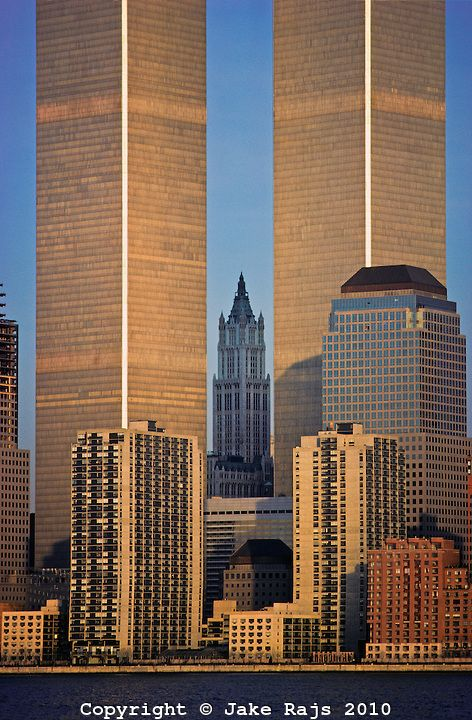 NYC, NY, World Trade Center and Woolworth Building designed by Cass Gilbert, Twin Towers, designed by Minoru Yamasaki, International Style I...